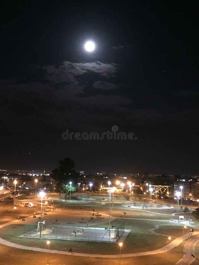 Φεγγάρι πέρα από ένα πάρκο στοκ φωτογραφία με δικαίωμα ελεύθερης χρήσης