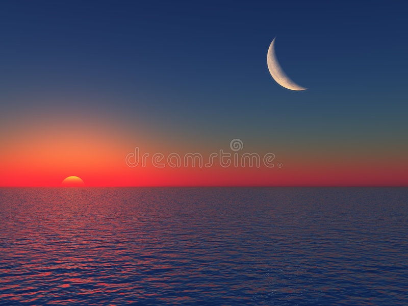 φεγγάρι πέρα από την ανατολή θάλασσας ελεύθερη απεικόνιση δικαιώματος