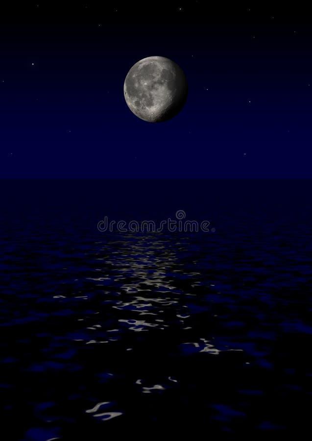 φεγγάρι πέρα από τη θάλασσα ελεύθερη απεικόνιση δικαιώματος