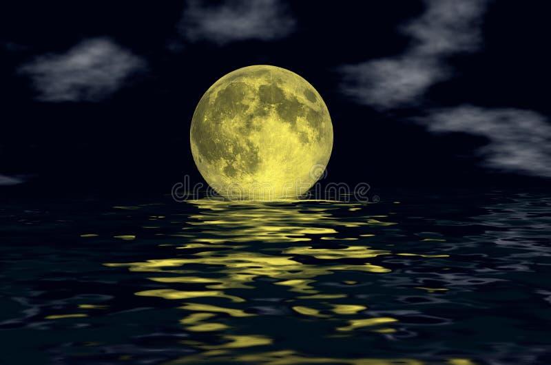 φεγγάρι πέρα από το ύδωρ στοκ εικόνα