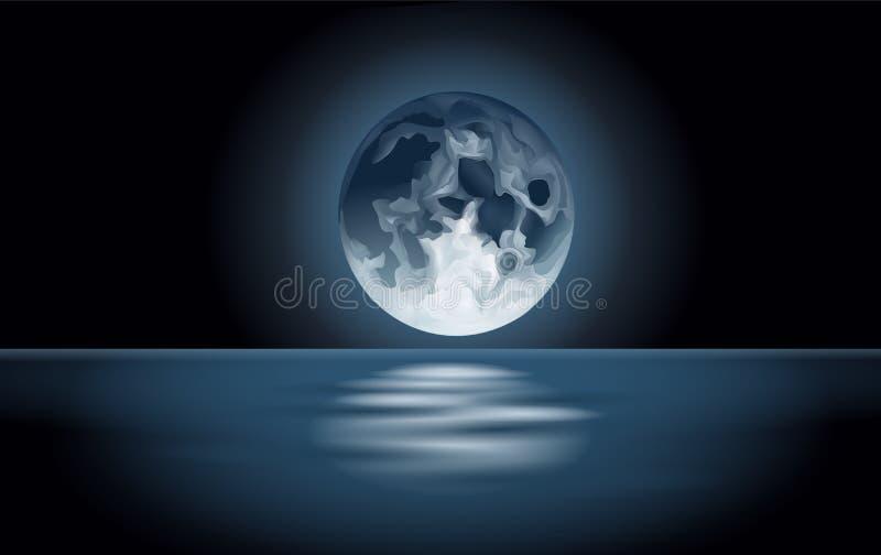 Φεγγάρι που απεικονίζεται στη θάλασσα απεικόνιση αποθεμάτων