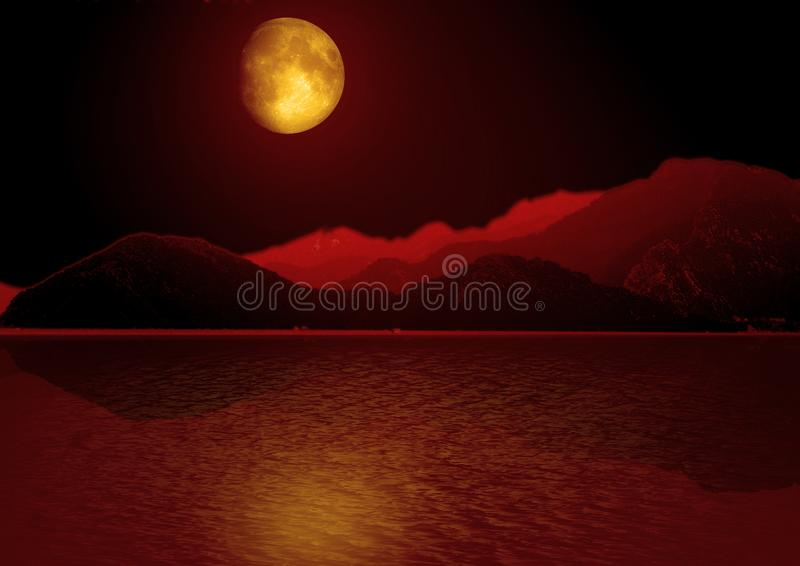Φεγγάρι στον ουρανό αστεριών που απεικονίζεται στο νερό διανυσματική απεικόνιση