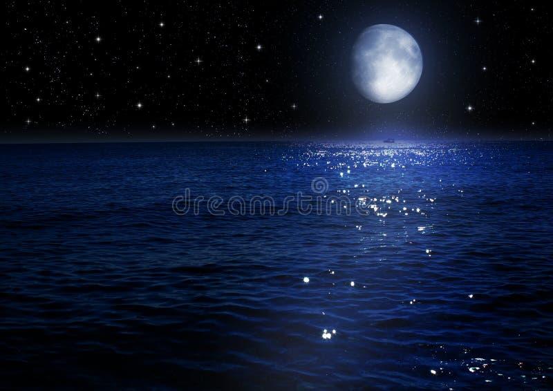 Φεγγάρι στο νυχτερινό ουρανό διανυσματική απεικόνιση