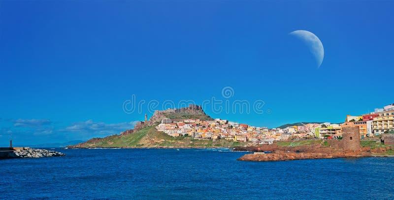 Φεγγάρι Castelsardo στοκ φωτογραφίες με δικαίωμα ελεύθερης χρήσης