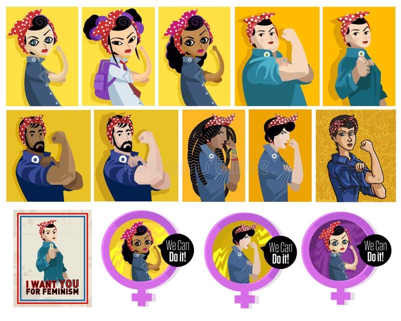 Φεμινιστικές αφίσες διανυσματική απεικόνιση