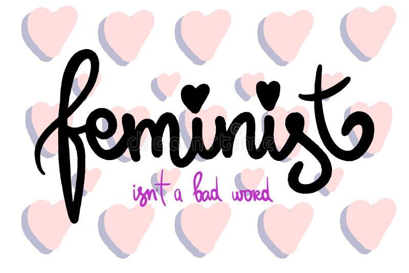 Φεμινιστική Handdrawn εγγραφή για τα κορίτσια Διανυσματική φράση Απεικόνιση στα ιώδη και ρόδινα χρώματα Χειρόγραφη λέξη με τις κα διανυσματική απεικόνιση