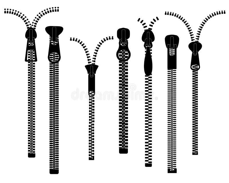 Φερμουάρ Το κλειστό ανοικτό φερμουάρ τραβά Φερμουάρ, ασημένιος σύνδεσμος μετάλλων Ανοίξτε φερμουάρ το υφαντικό μαύρο διάνυσμα εξα διανυσματική απεικόνιση