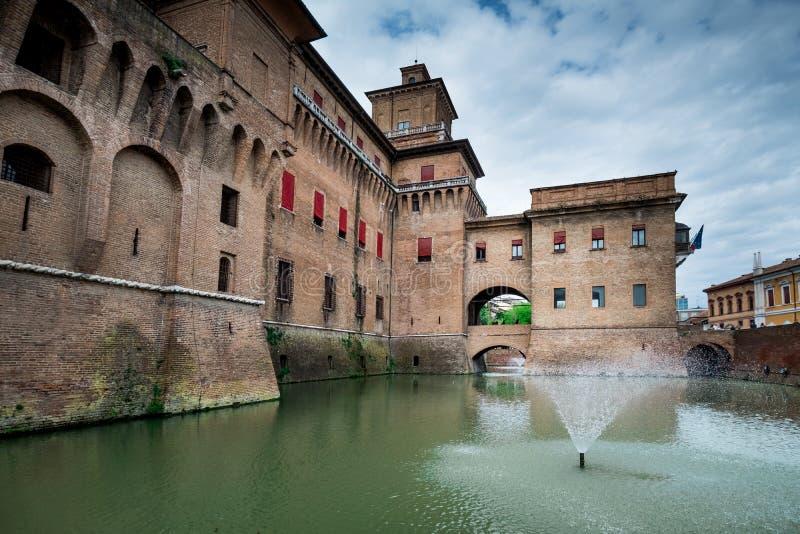 Φερράρα, Αιμιλία-Ρωμανία, Ιταλία - Castello Castle Estense στοκ εικόνα