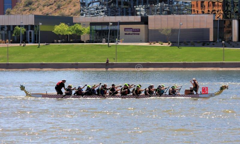 Φεστιβάλ βαρκών δράκων στην πόλης λίμνη Αριζόνα 2019 Tempe στοκ φωτογραφία