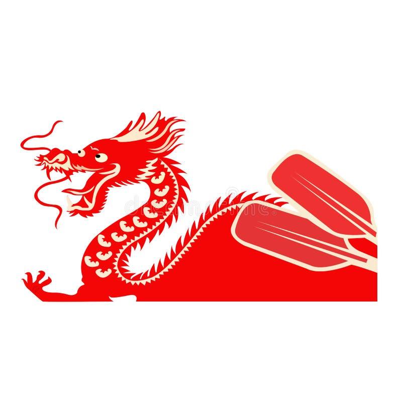 Φεστιβάλ βαρκών της Κίνας Δράκος ως σύμβολο του κινεζικού πολιτισμού διανυσματική απεικόνιση