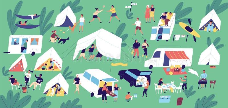 Φεστιβάλ καλοκαιρινό εκπαιδευτικό κάμπινγκ Άνθρωποι ή τουρίστες που ζουν στις σκηνές, τα ρυμουλκά ταξιδιού και τα φορτηγά τροχόσπ απεικόνιση αποθεμάτων
