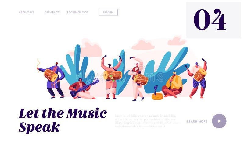 Φεστιβάλ μουσικής στην προσγειωμένος σελίδα της Ινδίας Μουσικός που παίζει το μουσικό όργανο Dhol, το τύμπανο, το φλάουτο και Sit διανυσματική απεικόνιση