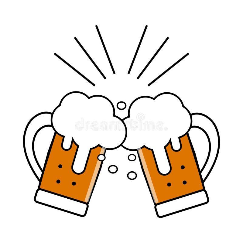 Φεστιβάλ μπύρας Δύο ποτήρια της μπύρας, που χτυπούν το ένα στο άλλο, φρυγανιά, doodles διανυσματική απεικόνιση διακοπών, διασκέδα διανυσματική απεικόνιση