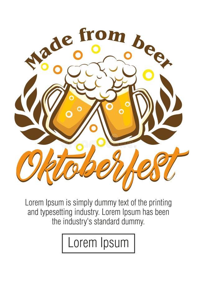 Φεστιβάλ μπύρας Oktoberfest Έγχρωμη εικονογράφηση απεικόνιση αποθεμάτων