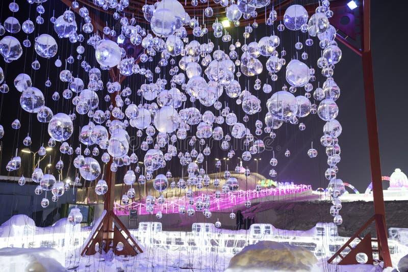 Φεστιβάλ 2018 πάγου του Χάρμπιν - πάγος› ½ é™… å † °é› ªèŠ 'å ο «ˆå°» æ» ¨å βράζει - κτήρια πάγου και χιονιού, διασκέδαση, νύχτα, στοκ εικόνες