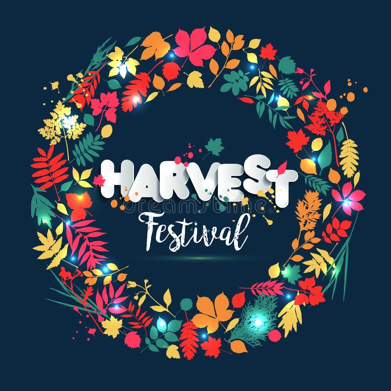 Φεστιβάλ συγκομιδών κειμένων στο ύφος εγγράφου στο πολύχρωμο υπόβαθρο με τα φύλλα φθινοπώρου Συρμένα χέρι grunge στοιχεία λεκέδων απεικόνιση αποθεμάτων