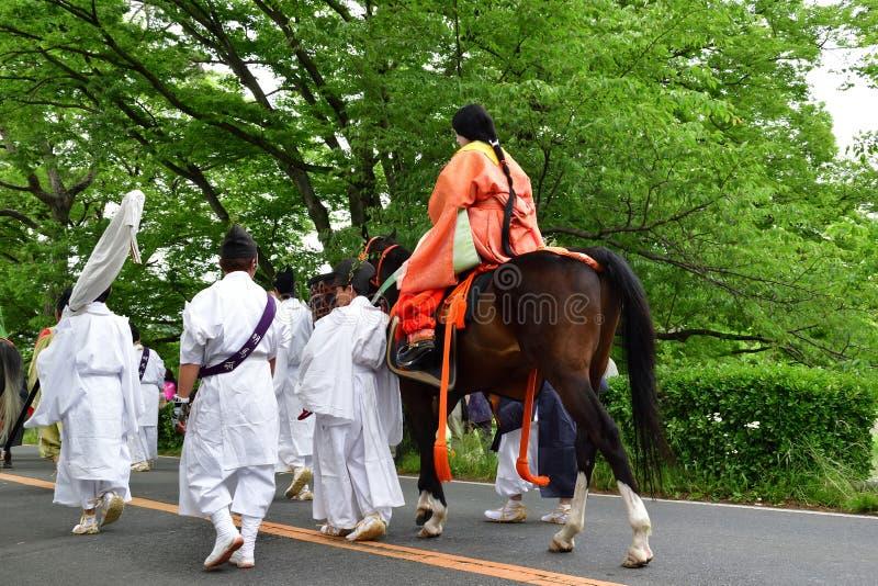 Φεστιβάλ hollyhock-matsuri Aoi, Κιότο Ιαπωνία στοκ εικόνα