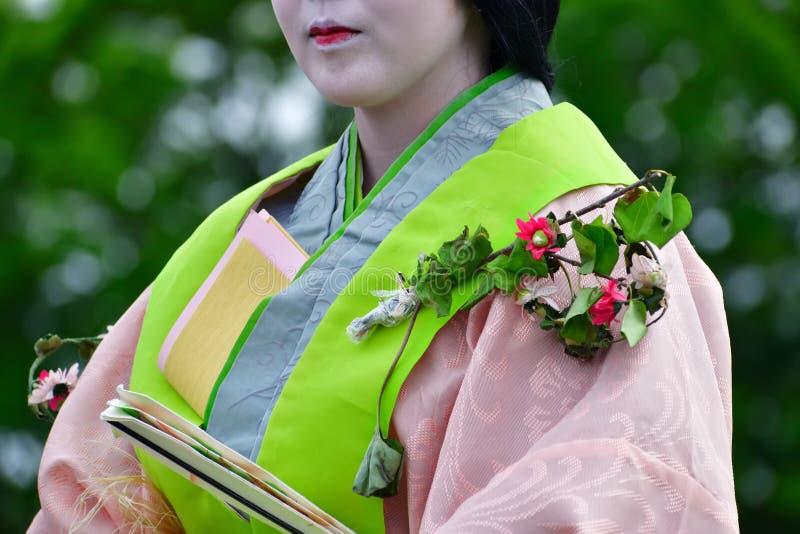 Φεστιβάλ hollyhock-matsuri Aoi, Κιότο Ιαπωνία στοκ εικόνες