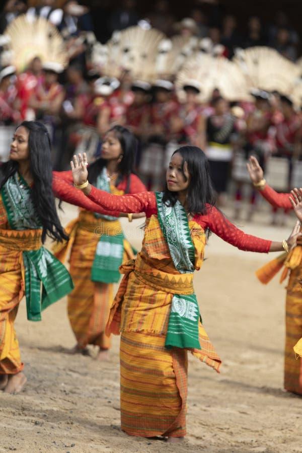 Φεστιβάλ Hornbill Nagaland, Ινδία: Την 1η Δεκεμβρίου 2013: Θηλυκοί χορευτές που εκτελούν το φυλετικό χορό στο φεστιβάλ Hornbill στοκ φωτογραφία με δικαίωμα ελεύθερης χρήσης