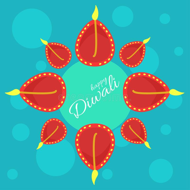 Φεστιβάλ Indial των φω'των Διανυσματική αφίσα με τους ευτυχείς χαιρετισμούς Diwali διανυσματική απεικόνιση