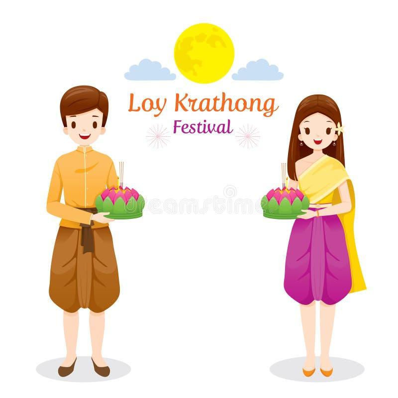 Φεστιβάλ Krathong Loy, ζεύγος στο εθνικό κοστούμι που στέκεται, Cele απεικόνιση αποθεμάτων