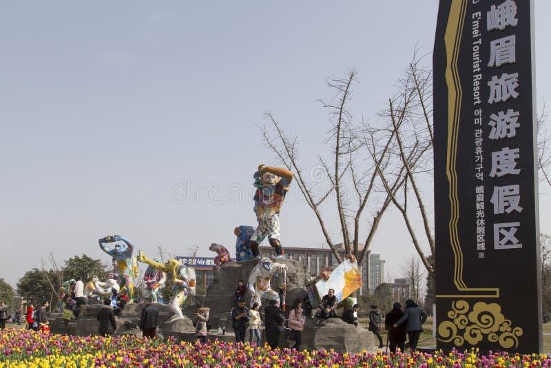 Φεστιβάλ άνοιξη στο emei υποστηριγμάτων, Κίνα στοκ φωτογραφίες