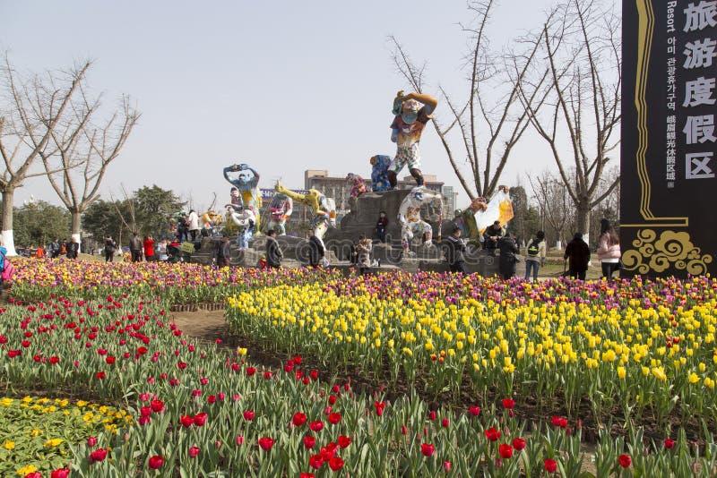 Φεστιβάλ άνοιξη στο emei υποστηριγμάτων, Κίνα στοκ εικόνες