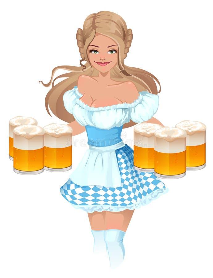 Φεστιβάλ μπύρας Oktoberfest Έγχρωμη εικονογράφηση Γερμανικές κούπες εκμετάλλευσης σερβιτορών κοριτσιών της μπύρας ελεύθερη απεικόνιση δικαιώματος