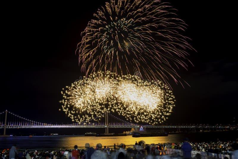 Φεστιβάλ 2016 πυροτεχνημάτων Busan - πυροτεχνουργία νύχτας στοκ φωτογραφίες με δικαίωμα ελεύθερης χρήσης