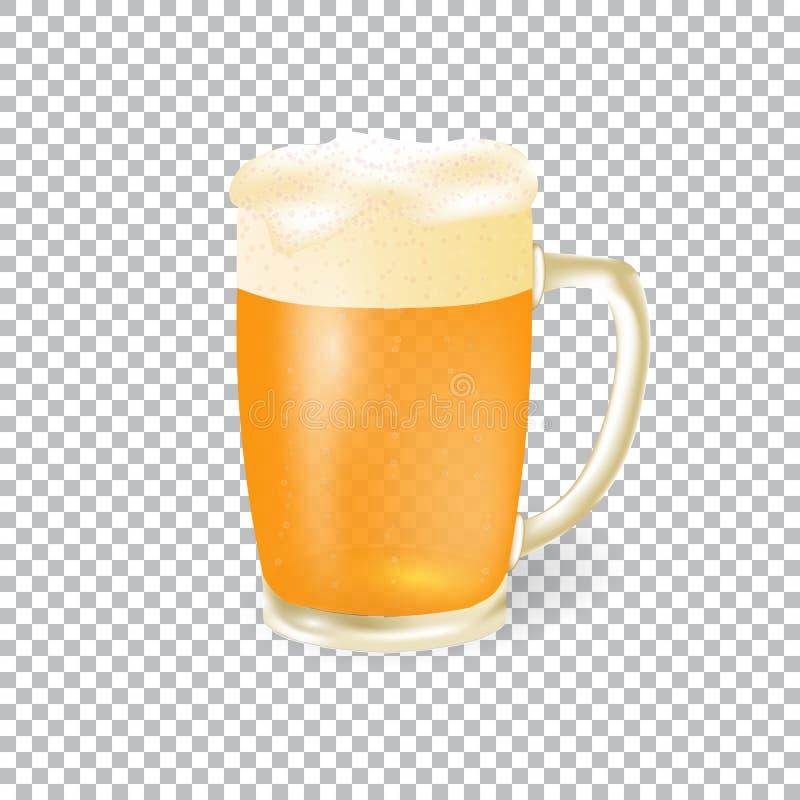 Φεστιβάλ της μπύρας Ελαφριά μπύρα σε μια κούπα με τον αφρό, που απομονώνεται σε ένα υπόβαθρο ελεγκτών απεικόνιση διανυσματική απεικόνιση