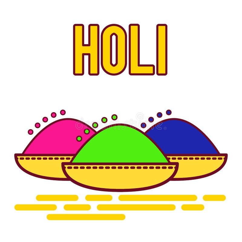 Φεστιβάλ Holi της άνοιξη και των φωτεινών χρωμάτων στην Ινδία Παραδοσιακή χρωματισμένη σκόνη Gulal Επίπεδο διανυσματικό σχέδιο ει απεικόνιση αποθεμάτων