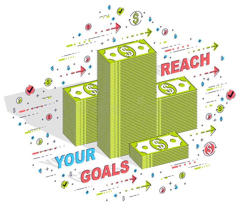 Φθάστε στην αφίσα επιχειρησιακού κινήτρου στόχων ή το έμβλημά σας, μετρητά mone ελεύθερη απεικόνιση δικαιώματος