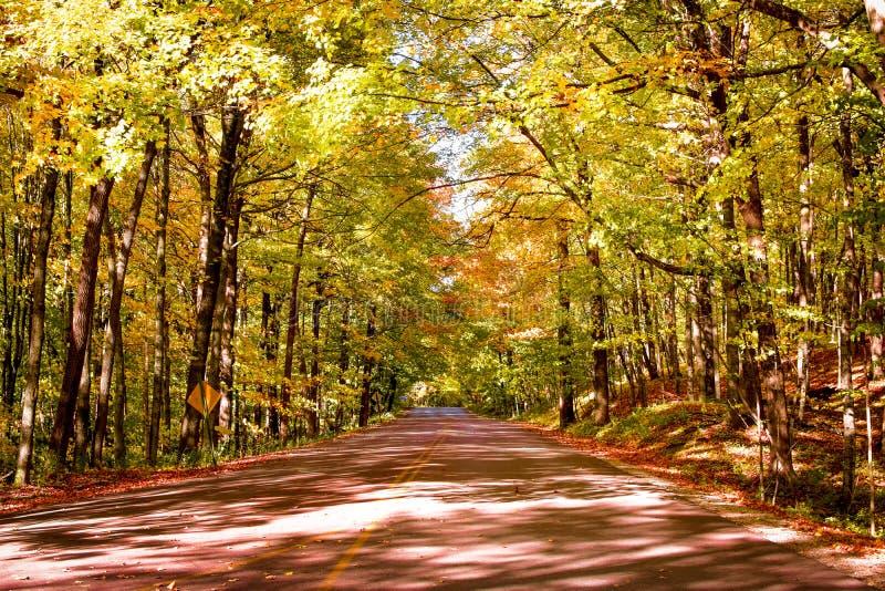 Φθινοπωρινή οδός στο Hubertus, Wisconsin στοκ φωτογραφία με δικαίωμα ελεύθερης χρήσης