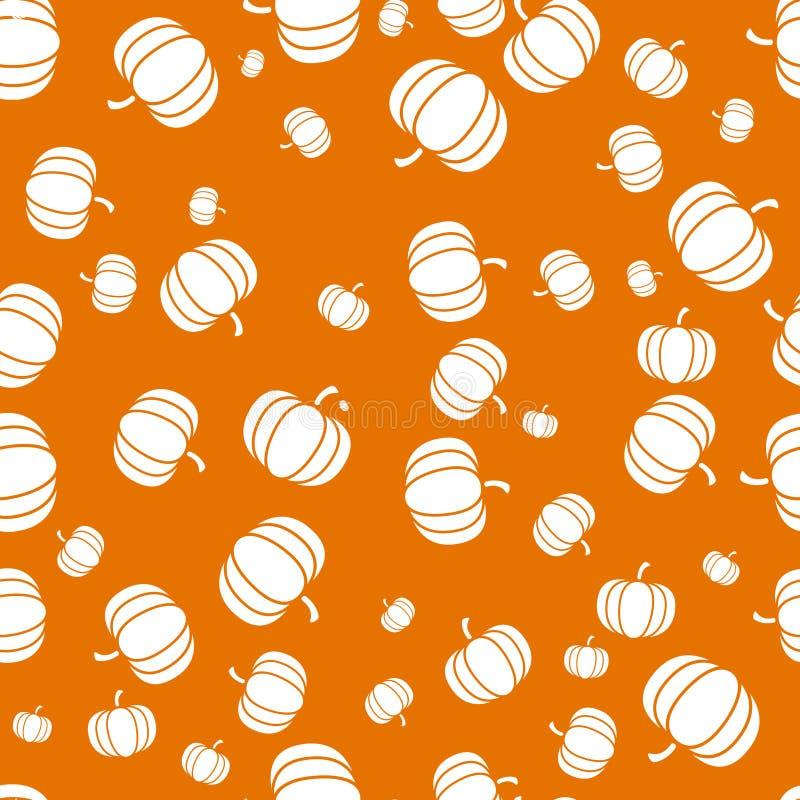 Φθινοπωρινό πορτοκαλί άνευ ραφής σχέδιο αποκριών ημέρας των ευχαριστιών με την απεικόνιση κολοκύθας διανυσματική απεικόνιση