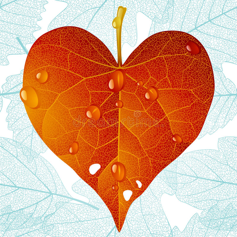 φθινοπωρινό φύλλο καρδιών & διανυσματική απεικόνιση