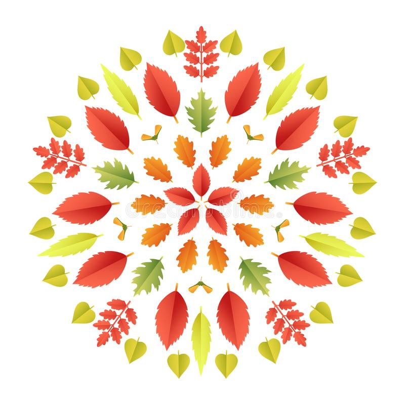 Φθινοπωρινό mandala Ζωηρόχρωμο καλειδοσκόπιο φύλλων πτώσης που απομονώνεται στο άσπρο υπόβαθρο Το έγγραφο έκοψε το τρισδιάστατο ε διανυσματική απεικόνιση