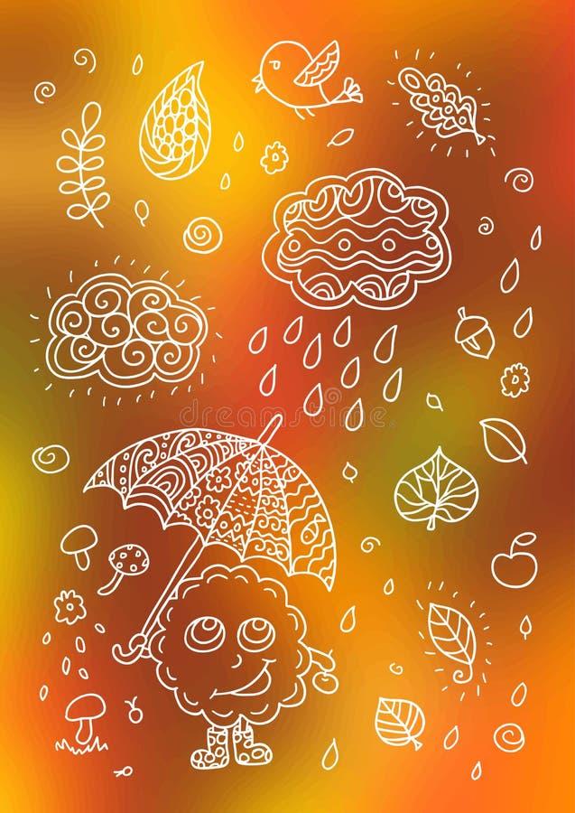 Φθινοπώρου στοιχεία που τίθενται χαριτωμένα απεικόνιση αποθεμάτων