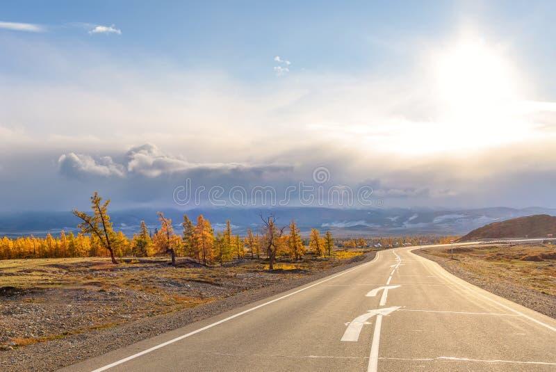 Φθινόπωρο ήλιων ασφάλτου οδικών βουνών στοκ εικόνες