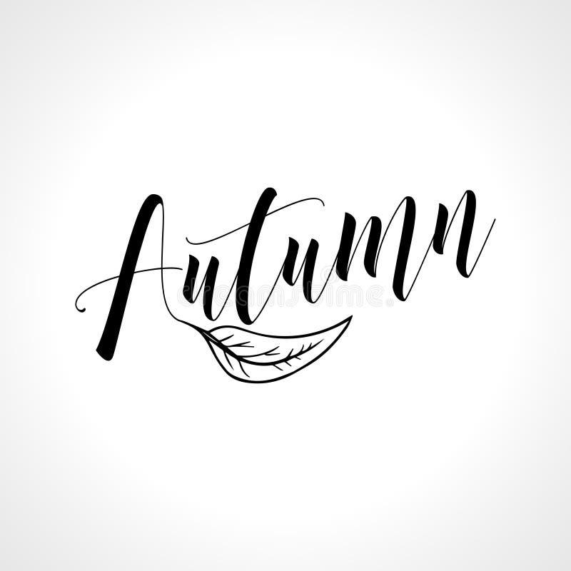 Φθινόπωρο - γράφοντας κείμενο με το μειωμένο φύλλο διανυσματική απεικόνιση