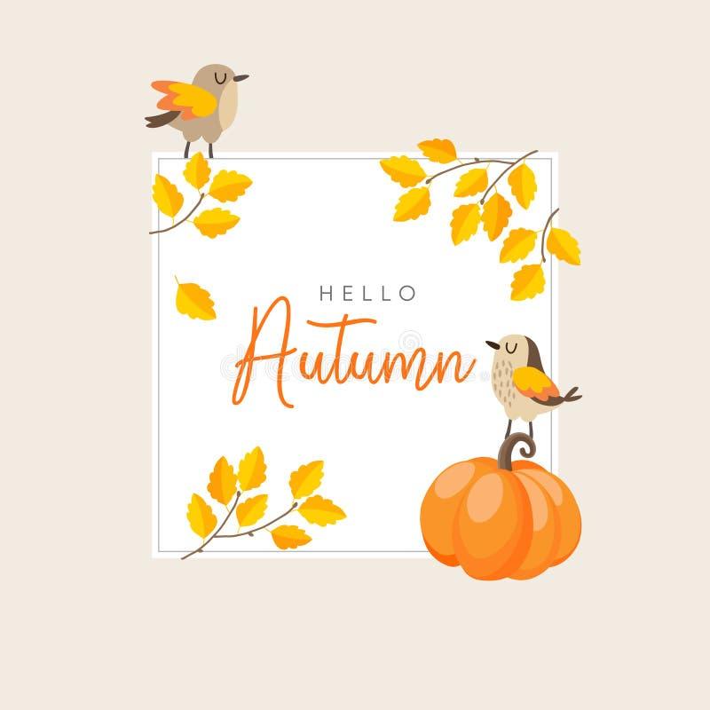 Φθινόπωρο, ευχετήρια κάρτα πτώσης, πρόσκληση με τα πουλιά, τα ζωηρόχρωμες χρυσές φύλλα και την κολοκύθα Έννοια ημέρας των ευχαρισ απεικόνιση αποθεμάτων