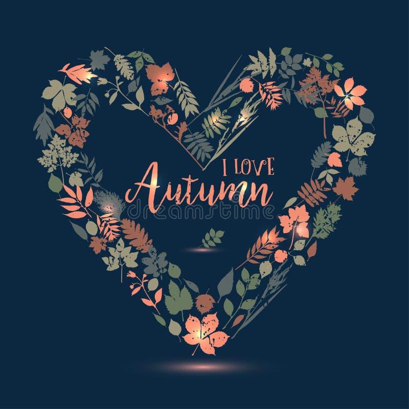 φθινόπωρο ι αγάπη Διανυσματική απεικόνιση σχεδίου με την καρδιά Λιβάδι φθινοπώρου διανυσματική απεικόνιση