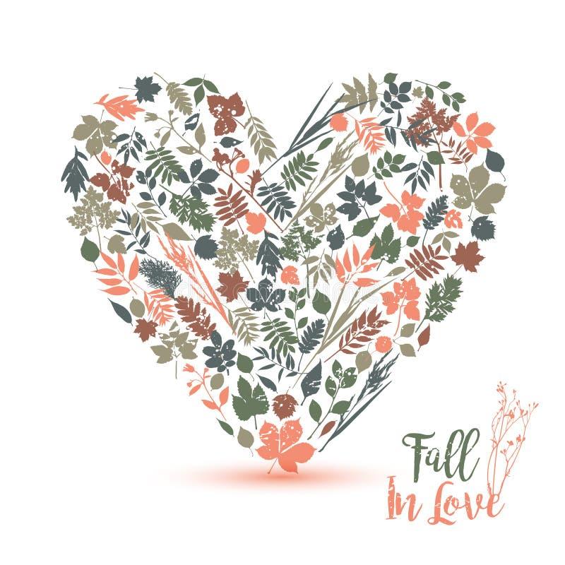φθινόπωρο ι αγάπη Διανυσματική απεικόνιση σχεδίου με την καρδιά Πτώση σε Lo ελεύθερη απεικόνιση δικαιώματος