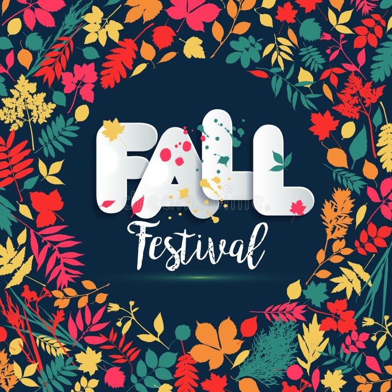 Φθινόπωρο κειμένων στο ύφος εγγράφου στο πολύχρωμο υπόβαθρο με τα φύλλα φθινοπώρου Συρμένα χέρι grunge στοιχεία λεκέδων Ύφος πτώσ διανυσματική απεικόνιση