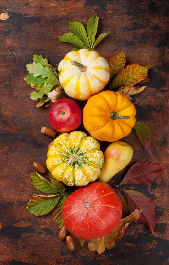 Φθινόπωρο με τις κολοκύθες και τα φρούτα στοκ εικόνα με δικαίωμα ελεύθερης χρήσης