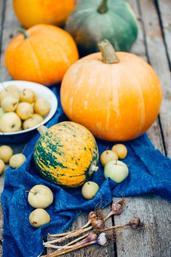 Φθινόπωρο Πορτοκαλιές και πράσινες κολοκύθες συγκομιδών, μήλα, αχλάδια, σκόρδο στο εκλεκτής ποιότητας ξύλινο υπόβαθρο στοκ φωτογραφίες με δικαίωμα ελεύθερης χρήσης