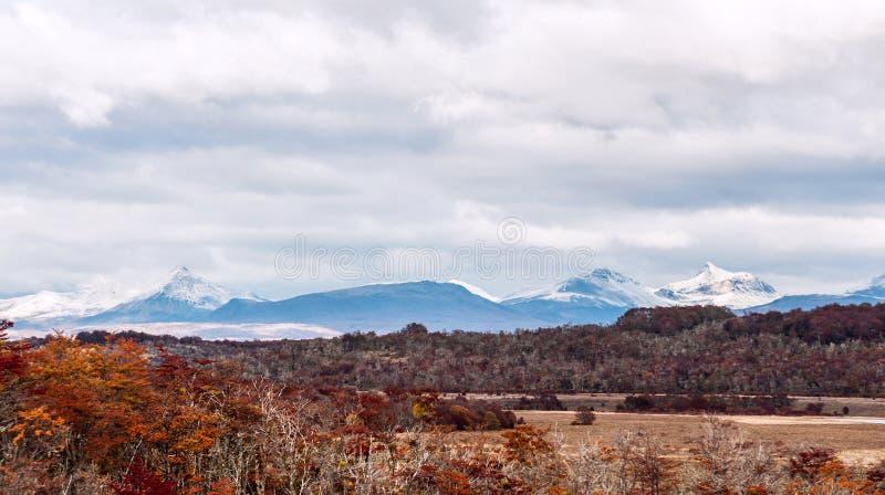 Φθινόπωρο στην Παταγωνία Οροσειρά Δαρβίνος στην Αργεντινή στοκ φωτογραφίες
