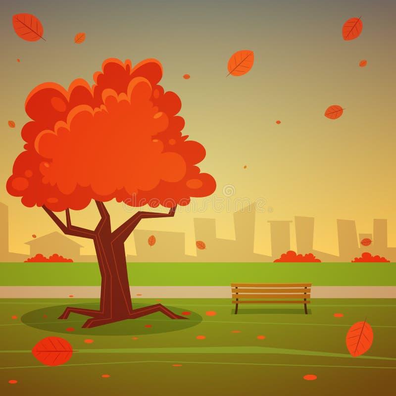 Φθινόπωρο στην πόλη διανυσματική απεικόνιση