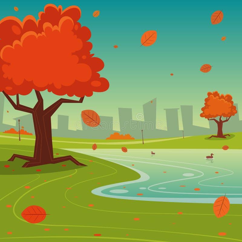Φθινόπωρο στην πόλη απεικόνιση αποθεμάτων