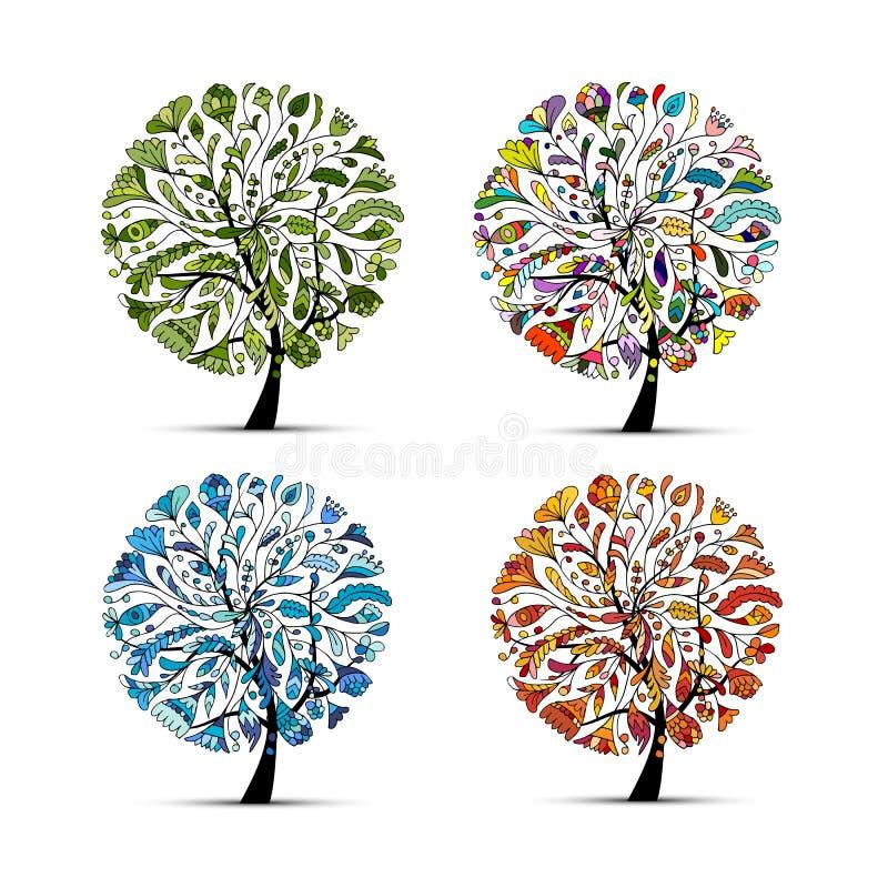 φθινόπωρο τέσσερις εποχέ&sig όμορφο δέντρο σχεδίου τέχν& ελεύθερη απεικόνιση δικαιώματος