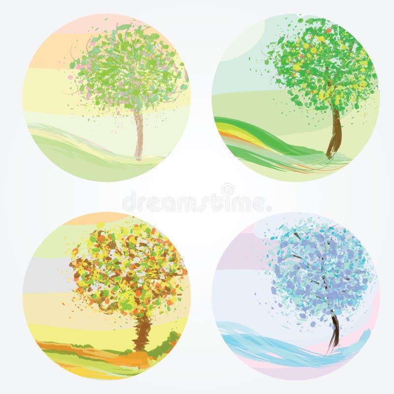 φθινόπωρο τέσσερις εποχέ&sig απεικόνιση αποθεμάτων